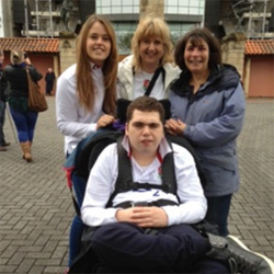 Matt with Alice, Emma and Professor Helen Cross OBE whenMatthew was a mascot for the England Rugby Team in May 2015